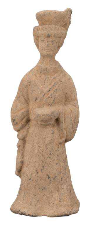 CHINESE HAN SICHUAN POTTERY FIGURE OF A LADY