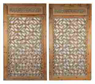 LARGE PAIR OF CHINESE FRAMED CARVED WOOD PANELS