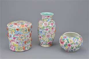 Three chinese porcelain items in million flower