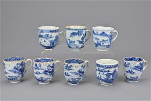 Eight chinese blue and white porcelain coffee cups with