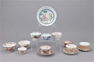 Chinese porcelain tea cups and saucers. 14 pieces in