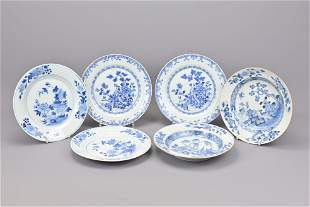 Six chinese blue and white plates. 18th century.