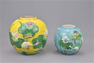 Two chinese 19th century ginger jars. height approx.