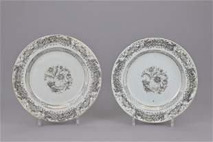 Two chinese export plates. 18th century. diameter
