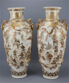 A large pair of japanese satsuma vases late meiji