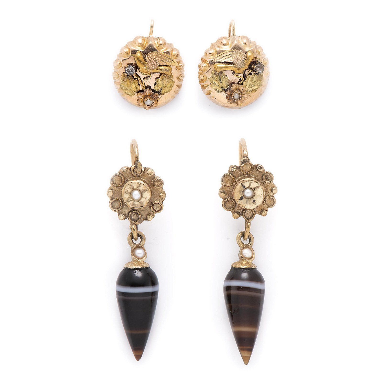 A pair of Victorian earrings.
