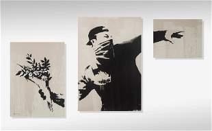 Banksy (British 1974-), 'Thrower (Grey)', 2019,