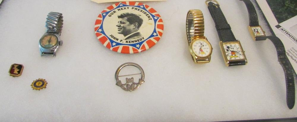 Mickey Mouse Watches Sterling Pin Kennedy Pin