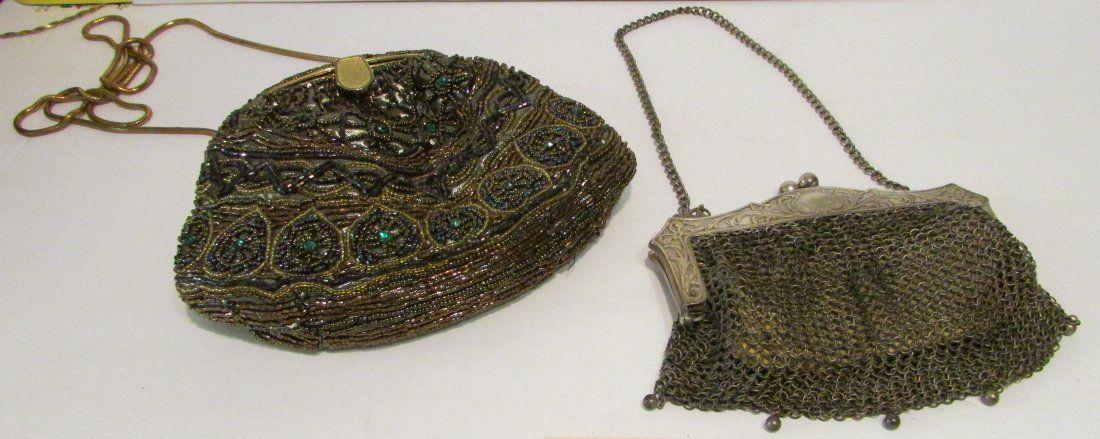 2 Vintage Mesh & Beaded Ladies Handbags