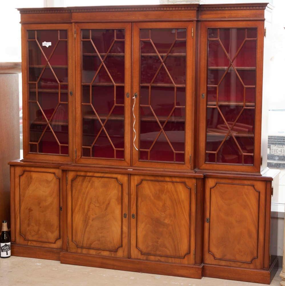 Contemporary mahogany 4-door breakfront china cabinet