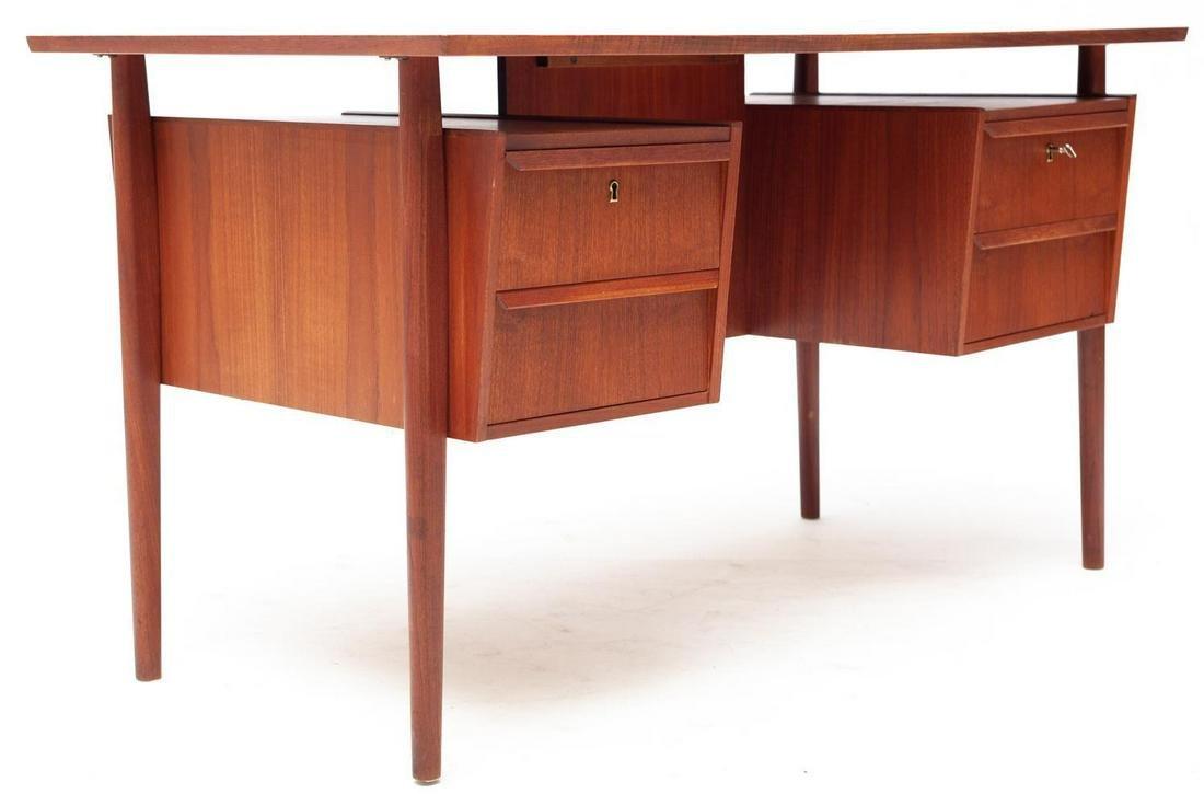 Mid century modern teak desk with locking drawers