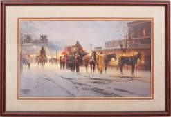 "Signed and Framed Lithograph by G. Harvey, ""Santa Fe -"