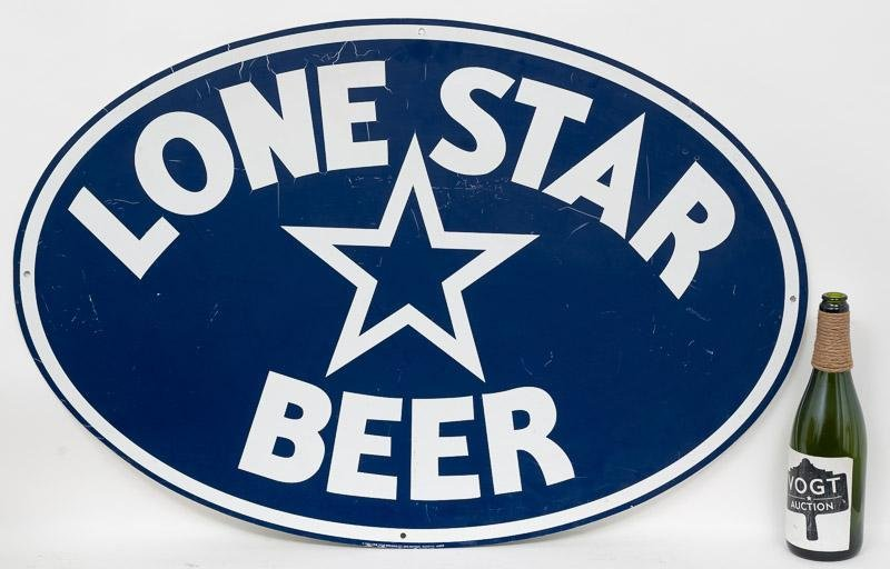 Vintage Enameled Lone Star Beer Blue Oval Sign