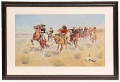 Framed Western Print by Frederick Remington,