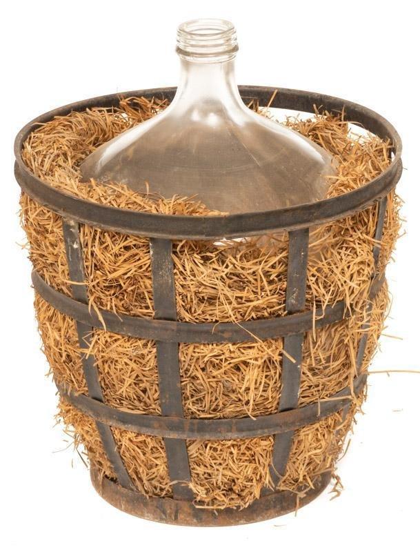Vintage Hand-Blown Glass Carboy in Metal Basket