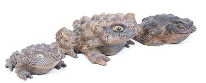 Lot of 3 Chinese Carved Wooden Frogs