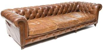 Vintage EnglishStyle Leather Chesterfield Sofa