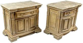 Pair of Art Deco Marble-Top Side Tables