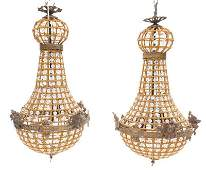 Pair of French Empire Tent and Basket Chandeliers Stag
