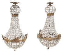 Pair of French Empire Tent and Basket Chandeliers