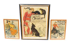 Lot of 3 French Cat and Women Advertising Posters