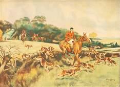 John Andrews, Fox Hunt, Oil on Canvasboard