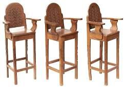 Set of 3 Carved Arts  Crafts Bar Stools