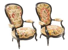 Pair of Napoleon III Period Bergere Arm Chairs