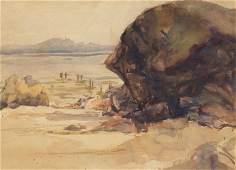 Beach Scene, Watercolor on Paper