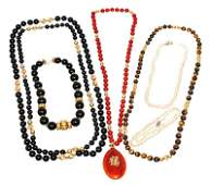 Lot of 7 14K Gold Gemstone Bead Necklaces