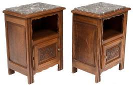Pair of Carved French Marble Top Night Stands