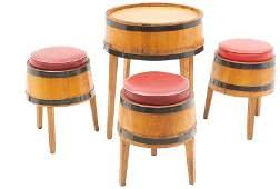 Rustic Barrel Bar Set Table and 3Stools