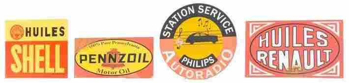 Lot of 4 Vintage Metal Motor Oil Advertising Signs