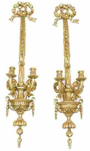 Pair of French Empire Gilt Wall Sconces