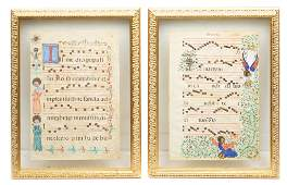 Pair of Double-Sided Gregorian Sheet Music Prints