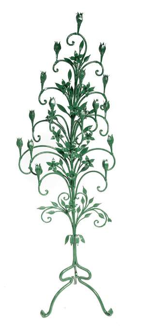 Green Painted Spanish-Style Wrought Iron Candelabra