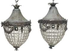 Pair of French Empire Chandeliers, Wreath Motif