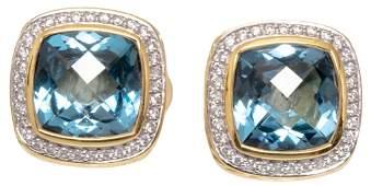 David Yurman Blue Topaz Diamond 18k Gold Earrings