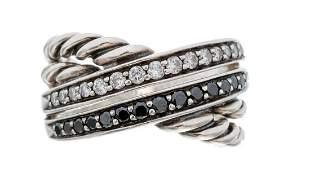 David Yurman Sterling Crossover Diamond Ring
