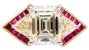 4ct Emerald Cut VVS2 Diamond 18k Gold Platinum Ring
