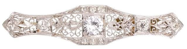 Antique Sapphire Diamond Platinum Filigree Bar Pin