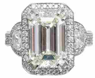 6.60ct Emerald Cut Diamond Platinum Ring