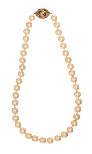 Antique 10mm Pearl Necklace 14k Gold Egg-Shape Clasp