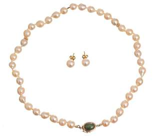 Baroque Pearl 14k Gold Necklace & Stud Earrings