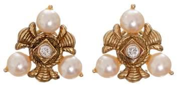 14k Gold Pearl & Diamond French Omega Clip Earrings