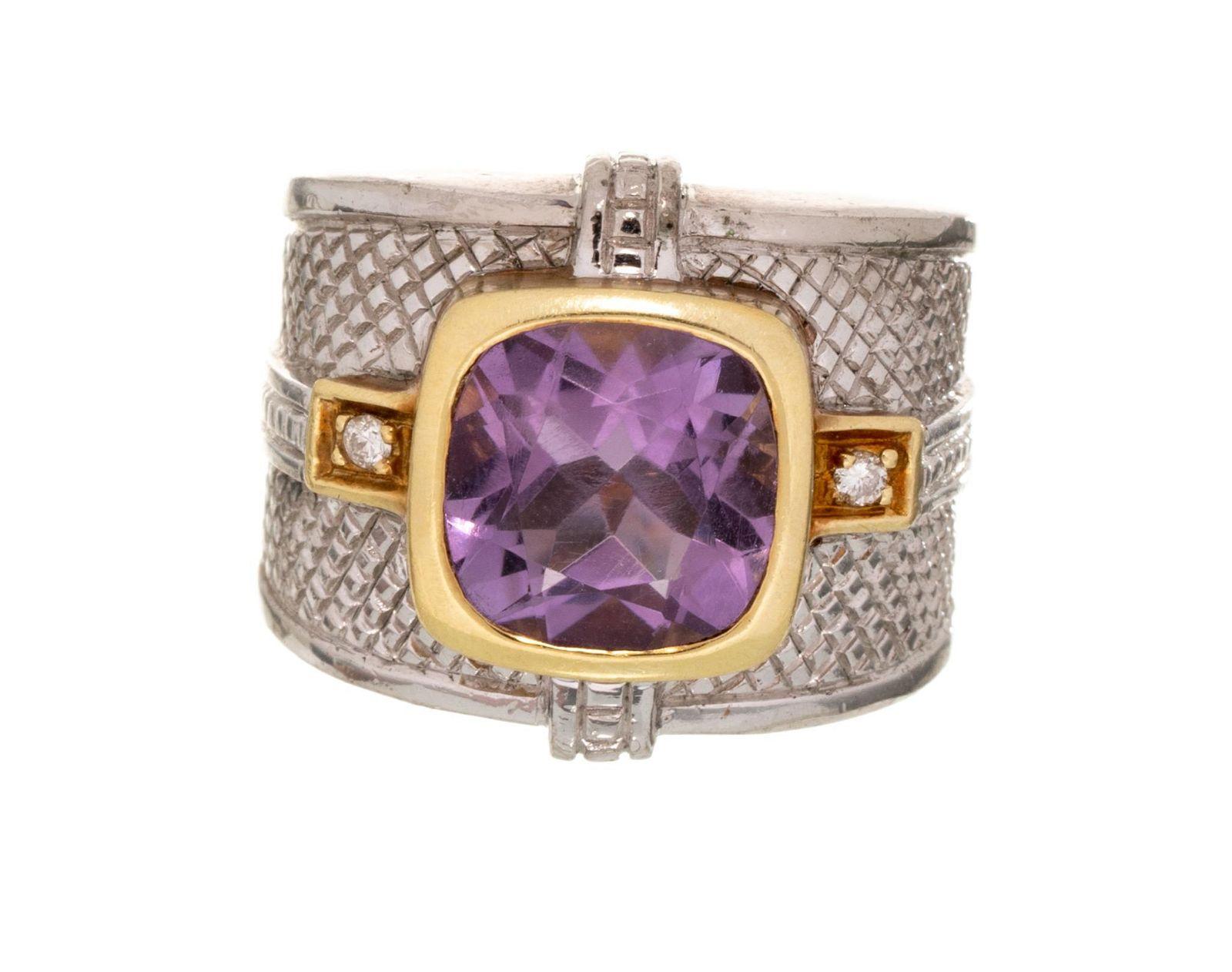 Judith Ripka Amethyst Sterling Silver 18k Gold Ring