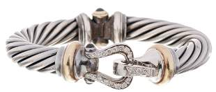 David Yurman Sterling 14k Gold Diamond Buckle Bracelet