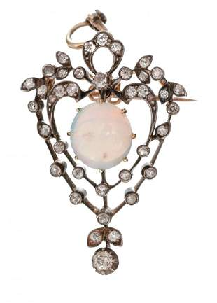 Victorian Rose Diamond Opal 10k Gold Pendant
