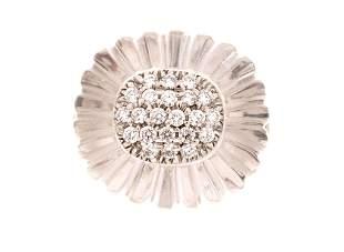 14k Gold Pave Diamond Rock Crystal Ring
