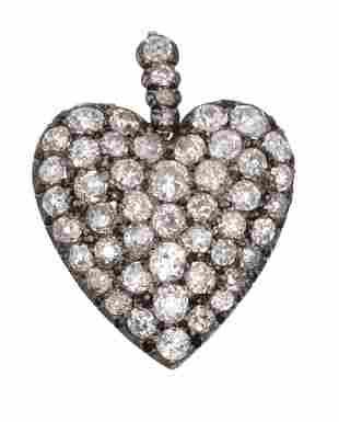 Victorian Rose Cut Diamond 10k Gold Heart Pendant